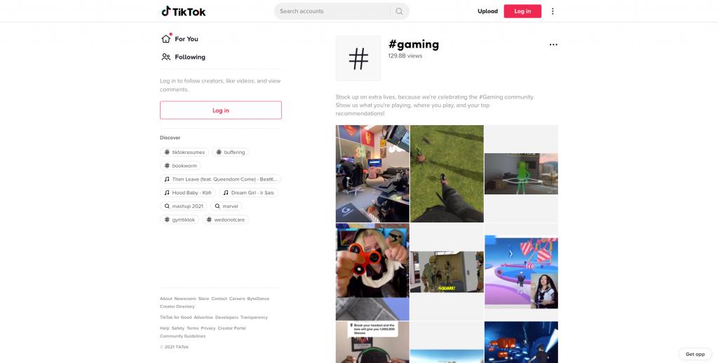#gaming page on TikTok